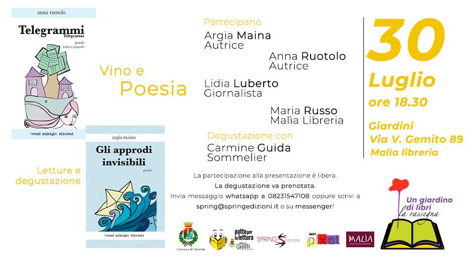 """Venerdi 30 luglio, vino e poesia. Un nuovo appuntamento con """"Un giardino di Libri"""""""